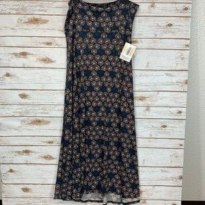 LuLaRoe Maxi Skirt XL Black/Blue African NWT